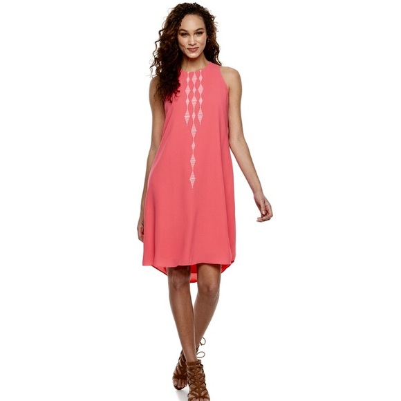 57509e4c0c w TAG EMBROIDERED High New High-Low Shift DRESS